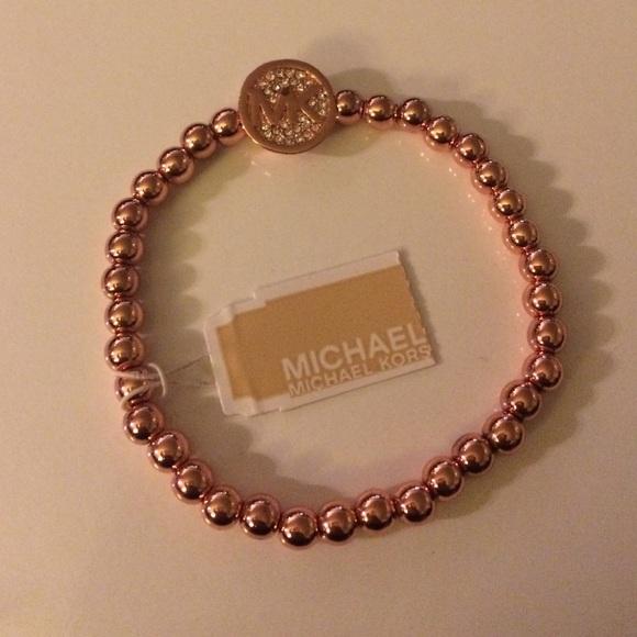 ece8d5883fcf Michael Kors rose bead stretch bracelet with logo