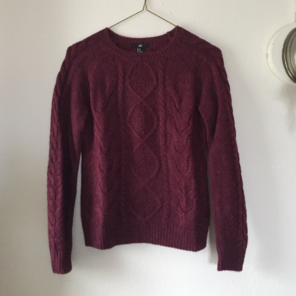 Hm Sweaters Burgundy Cable Knit Sweater Poshmark