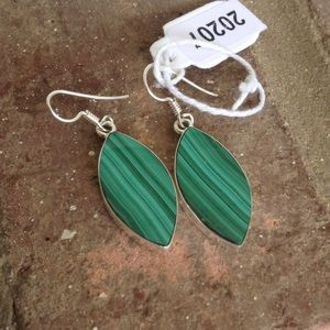 Natural Malachite Stone Earrings.