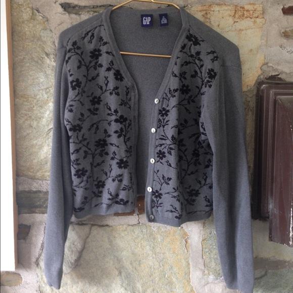 GAP Sweaters - Gap vintage grey and black floral cardigan. Sz m