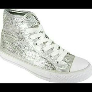 Silver sequins glitter high top sneakers