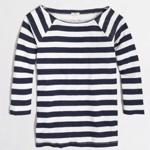 J.crew Navy and White Stripe Top with side zip