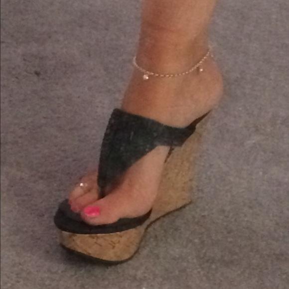 abeaa27794 Liliana Shoes | Black Glitter Platform Thong Wedge Sandal | Poshmark