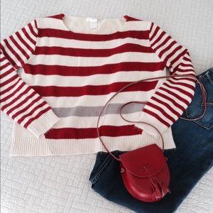 Mak B Sweaters - 🎉Host Pick 11/08/15🎉Red & Tan Striped Sweater