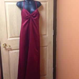 Red wine color spaghetti straps long gown