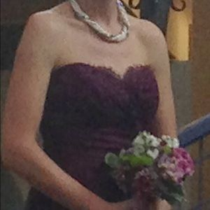 Mackenzie Michaels Dresses - Eggplant Mackenzie Michaels lace strapless dress