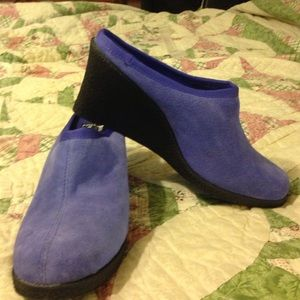 AJ Valenci Shoes - Purple mule wedges. Never worn. 3 inch heels.