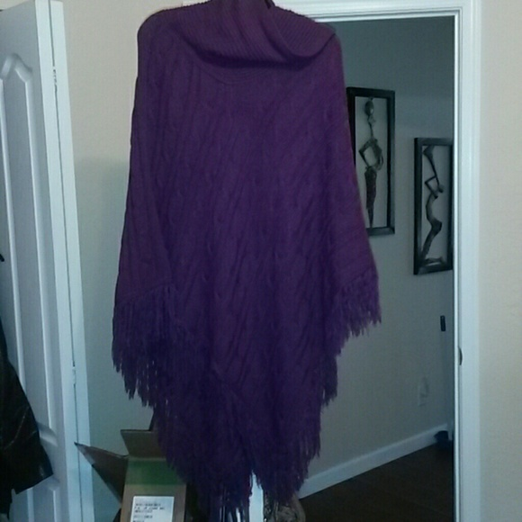 7% off Ashley Stewart Sweaters - Ashley stewart purple poncho from ...