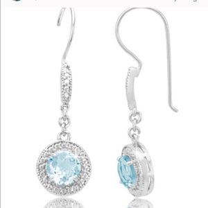 Jewelry - LAST Pr- Ster Silver Diamond & blue topaz earrings