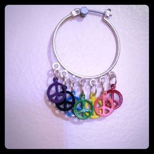 Rainbow peace sign earrings.