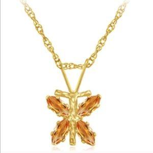 Jewelry - 10k gold 3/4 ctw citrine dragonfly w/ 10kgf Chain