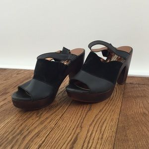 Cynthia Vincent Leather and Suede Mules