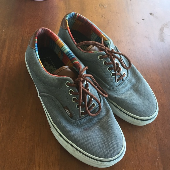 vans leather grey