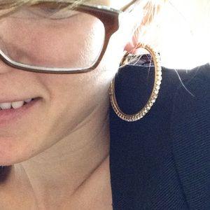 "Urban Outfitters Jewelry - 🛍 2"" Golden Rhinestone Hoop Earrings Big"