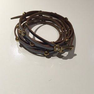 Jewelry - Blue leather wrap around bracelet