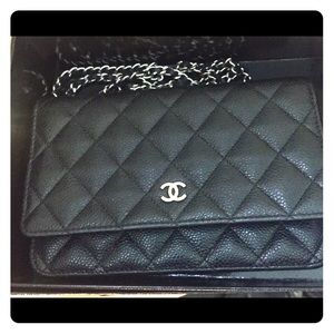 💥SOLD💥100% auth Chanel Woc black silver hardware