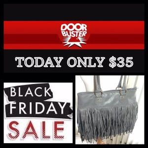Handbags - Grey Fringe Bag