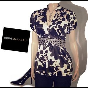 BCBG Maxaziria black white blouse 😆😆😆