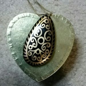 Pierre Cardin Jewelry - Vintage Tribal Painted Pendent Pierre Cardin Chain