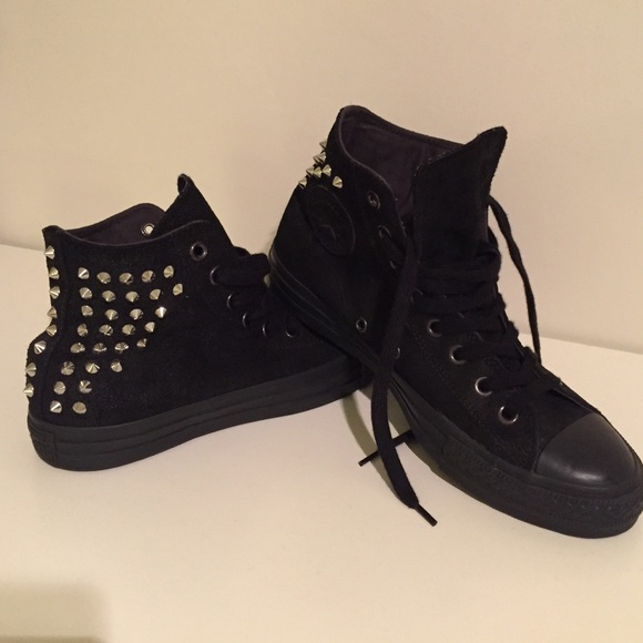 Converse Shoes - Black leather studded Converse All Star 3ac6c9aed