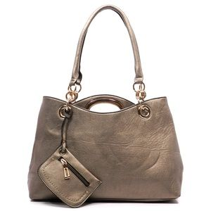 Handbags - Pewter fashion 2-in-1 Shoulder Bag and Tote Bag