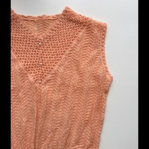 Vintage French Light Peach Sweater + Pearl Buttons