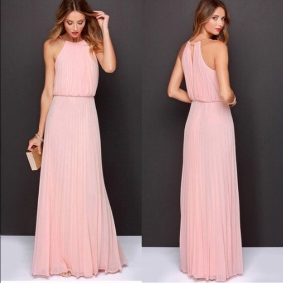 Dresses blush pink maxi dress long bridesmaid wedding for Long maxi dresses for weddings