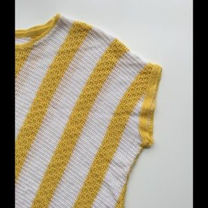 Vintage French Yellow + White Candy Stripe Sweater