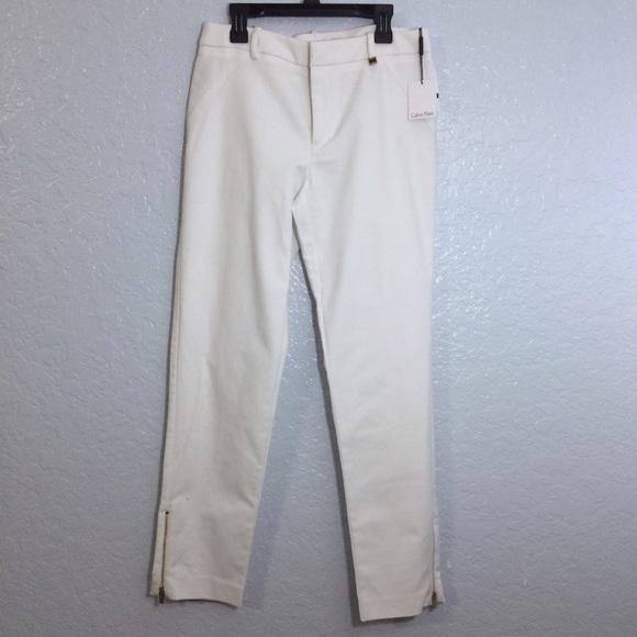 53% off Calvin Klein Pants - Calvin Klein White Long Dress Pants ...