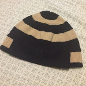 Kate Spade striped beanie with bow - black/tan