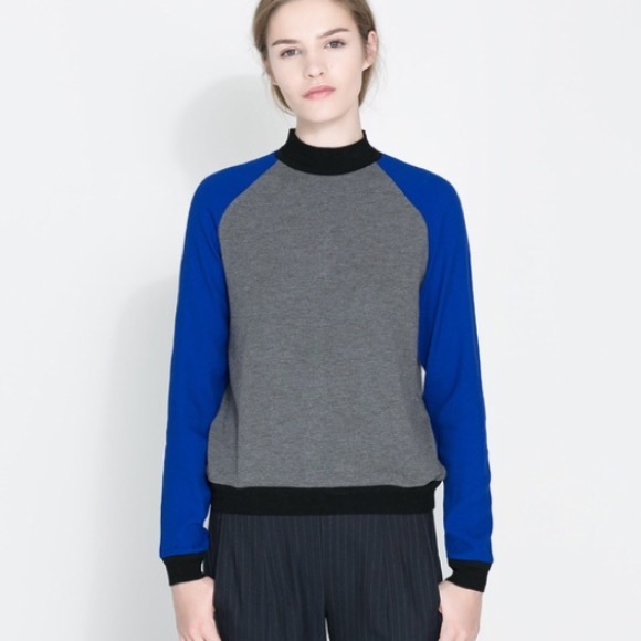 84% off Zara Sweaters - Zara royal blue grey black sweatshirt ...