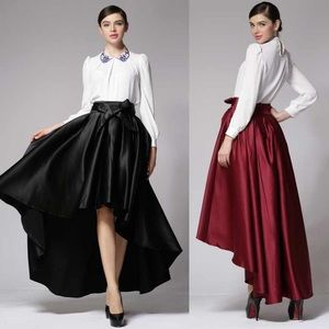 Hi-low black bow midi skirt