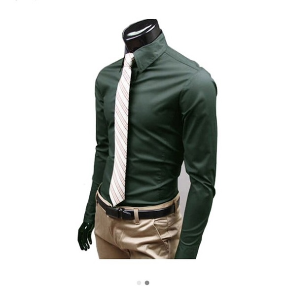 50% off Haodipaul Other - Men's slim fit dark green button down ...
