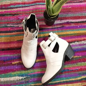 White Asos Cut Out Ankle Booties