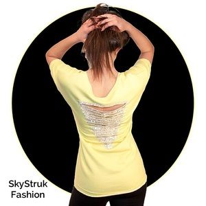 Tops - CLEARANCE Yellow Embellished Sweat Top