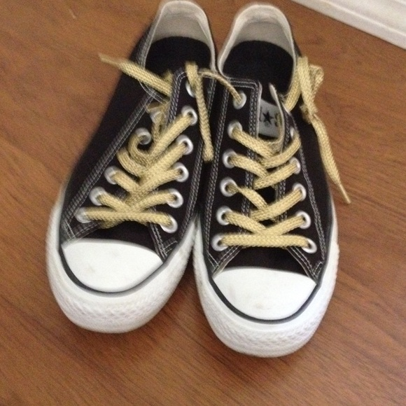 b0ef64e4874f Converse Shoes - Converse black with gold shoe laces.