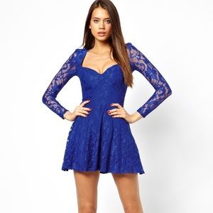 Dresses & Skirts - Asos Flirty Royal Blue Lace Dress