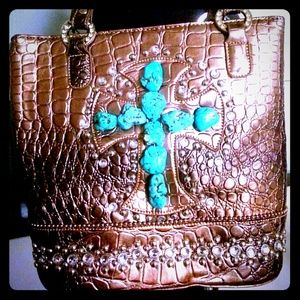 Handbags - SOLD! Rhinestone studded & Turquoise cross Handbag