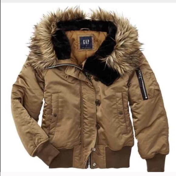 49% off GAP Outerwear - FLIGHT JACKET BOMBER WITH HOODED FUR from ...