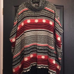 Poncho with Black Fringe Detail