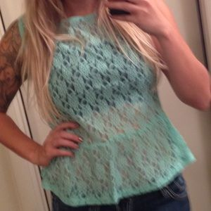 Tops - Mint Peplum top with gold buttons down the back