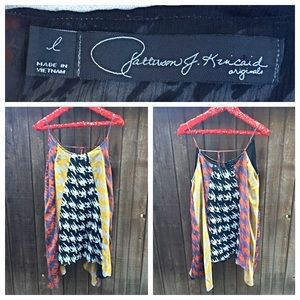 Patterson J. Kinkaid Tops - Abstract Houndstooth Flowy Tunic Tank Size Large
