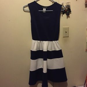 Navy Blue & White Striped Dress
