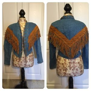 Vintage denim fringe jacket