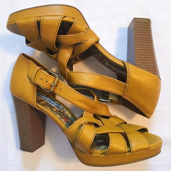 74d977f1ed8a American Eagle by Payless Shoes - Mustard Heels
