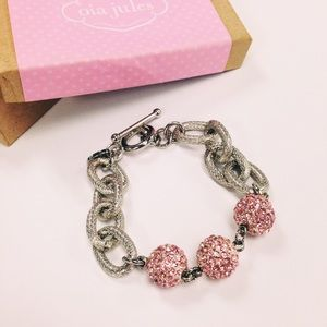 Oia Jules Jewelry - Pink Breast Cancer Research Silver Bracelet