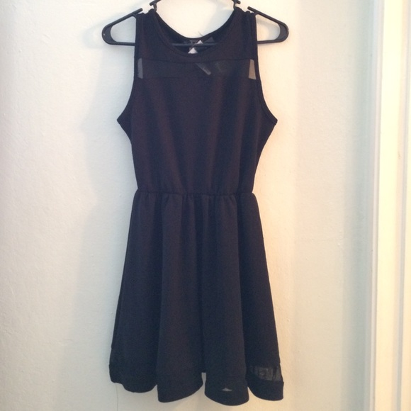 French Atmosphere Dresses Black Party Dress With Mesh Cutouts