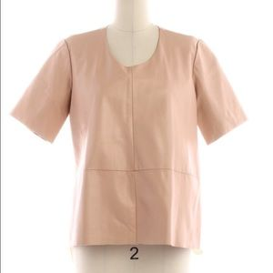 Mason Tops - Mason Peach Lambskin Leather Tee Size Small