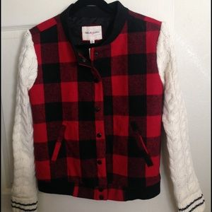 Jackets & Blazers - Plaid Bomber Jacket with Cableknit Sleeves