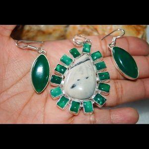Jasper & Green Onyx Pendant & Earrings Set